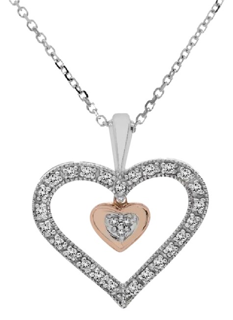 Avital & Co Jewelry Two Tone Gold 0.25ct Diamond Dangle Heart Pendant Cable Link Chain 10k Necklace Avital & Co Jewelry Two Tone Gold 0.25ct Diamond Dangle Heart Pendant Cable Link Chain 10k Necklace Image 1