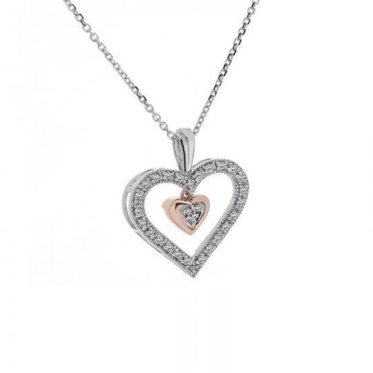 Avital & Co Jewelry 0.25Ct Diamond Dangle Heart Pendant Cable Link Chain 10K Two Tone Gold Image 1