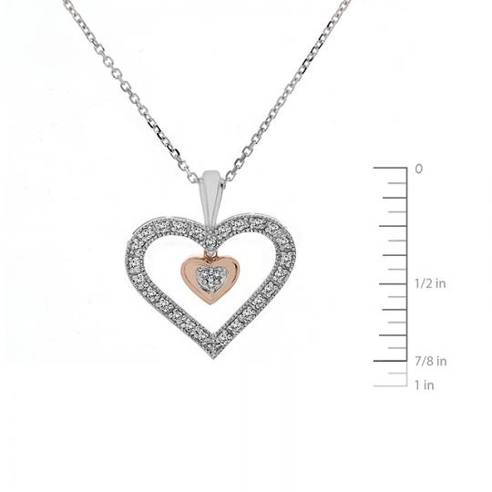 Avital & Co Jewelry 0.25Ct Diamond Dangle Heart Pendant Cable Link Chain 10K Two Tone Gold Image 2