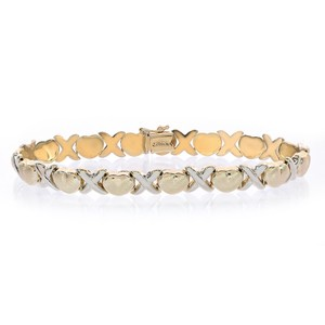 Avital & Co Jewelry 8.1mm Ladies Hugs & Kisses Bracelet 14k Two Tone Gold