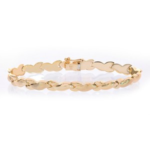 Avital & Co Jewelry 7.0mm 14k Yellow Gold Fancy Wave Link Bracelet