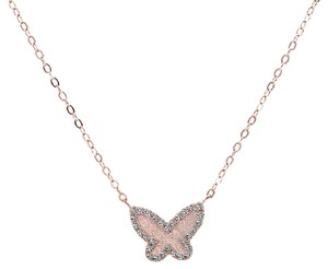 Avital & Co Jewelry 0.25 Ct Butterfly Pendant Rose Gold Tone Silver With Cubic Zirconia