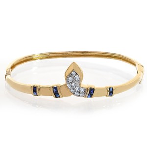 0.40 Carat Sapphire And Diamond Bangle Bracelet 14k Yellow Gold