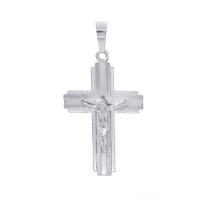 14k White Gold Cross Jesus Crucifix Pendant Italy