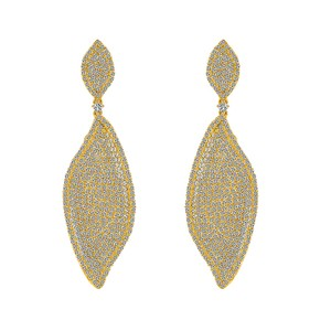 Avital & Co Jewelry Carat Micro Pave Chandelier Earrings Set 18k Yellow Gold Over Silver