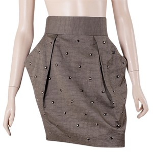 Stella McCartney Linen Khaki Studded Pencil Trumpet Brass Mini Mini Skirt Brown