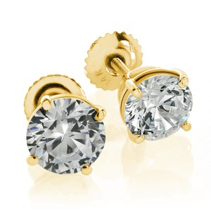 Avital & Co Jewelry 0.5ct Round Brilliant Cut Screwback Basket Stud Earrings Solid 14k YG