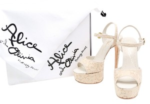 Alice + Olivia Lace Pumps Ankle Strap White Platforms