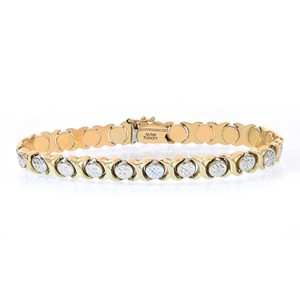 Avital & Co Jewelry 7.0mm Ladies 14k Yellow Gold Diamond Cut Hugs And Kisses Bracelet