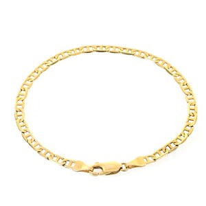 3.7mm 14k Yellow Gold Marine Curb Gucci Link Chain Bracelet Italy