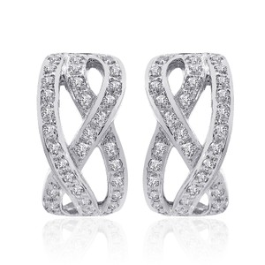 Avital & Co Jewelry 1.00 Carat Diamond Crisscross Classic J-hoop Earrings 14k White Gold