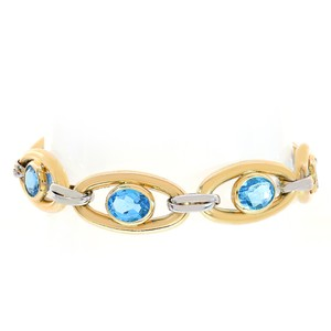 Avital & Co Jewelry 12.4mm 14k Two Tone Gold And Blue Topaz Toggle Link Bracelet Italy