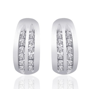 Avital & Co Jewelry 0.40 Carat Diamond Classic Hoop Earrings 14k White Gold