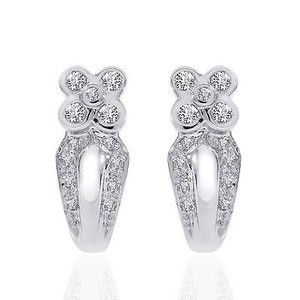0.50 Carat Diamond Flower J-hoop Earrings 14k White Gold