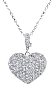 Avital & Co Jewelry 2.75 Carat Round Cut Diamond Heart Pendant Necklace 14k White Gold