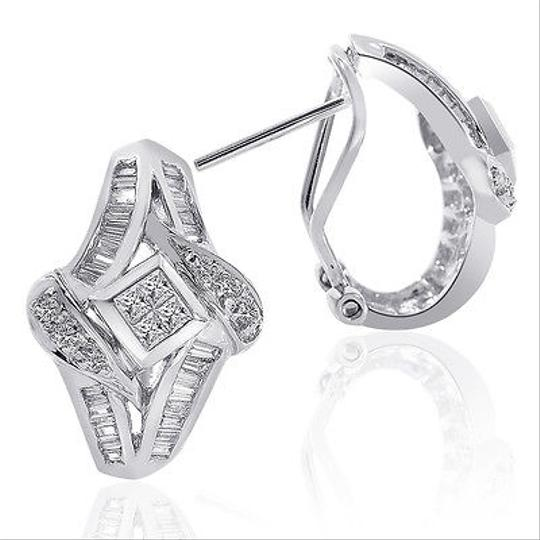 Avital & Co Jewelry 1.00 Carat Diamond Cascading Cluster J-hoop Earrings 14k White Gold Image 1