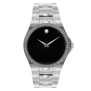 Movado 1.25 Carat Diamond Bezel Movado Watch Black Luno 0605556 Custom Set Diamonds