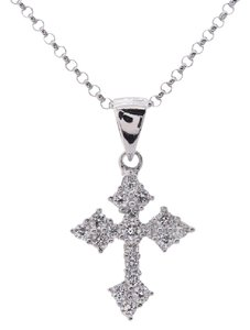 Avital & Co Jewelry 0.25 Carat Childrens Round Cut Diamond Cross Pendant Necklace 18k WG