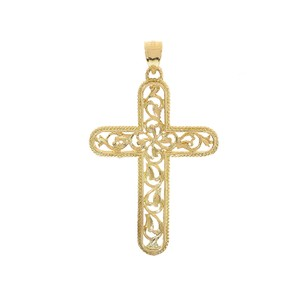 Avital & Co Jewelry 14k Yellow Gold Art Deco Cross Pendant