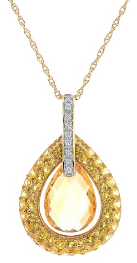 Preload https://img-static.tradesy.com/item/11019853/avital-and-co-jewelry-yellow-gold-308ct-citrine-diamond-dangle-pendant-cable-link-chain-14k-necklace-0-2-540-540.jpg
