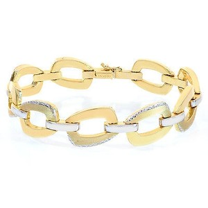 Avital & Co Jewelry 14.8mm 14k Two Tone Gold Sleeve Toggle Link Bracelet