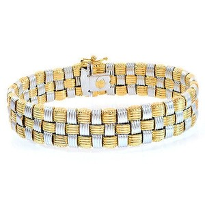 Other 14.5mm 14k Two Tone Gold Wide Chain Link Bracelet Italy