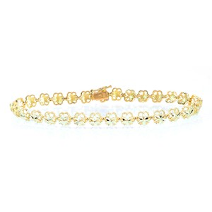 Avital & Co Jewelry 5.4mm 14k Yellow Gold Flower Link Diamod Cut Bracelet