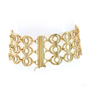 Avital & Co Jewelry 24.8mm 14k Yellow Gold Fancy Wide Sleeve Link Bracelet Italy