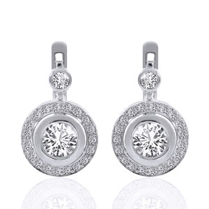 2.35 Carat Diamond Hoop Circle Drop Earrings 14k White Gold
