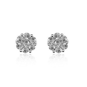 1.02 Carat Diamond Stud Earrings 14k White Gold