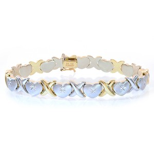 8.5mm Ladies 14k Two Tone Gold Hearts And Kisses Bracelet
