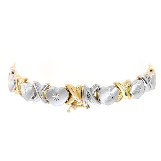 Avital & Co Jewelry 8.5mm Ladies 14k Two Tone Gold Hearts And Kisses Bracelet Image 1
