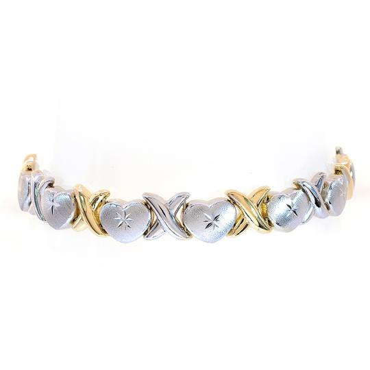 Avital & Co Jewelry 8.5mm Ladies 14k Two Tone Gold Hearts And Kisses Bracelet Image 2