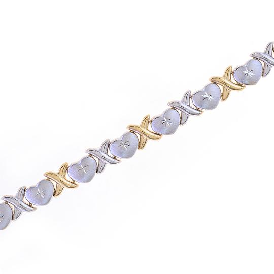 Avital & Co Jewelry 8.5mm Ladies 14k Two Tone Gold Hearts And Kisses Bracelet Image 3
