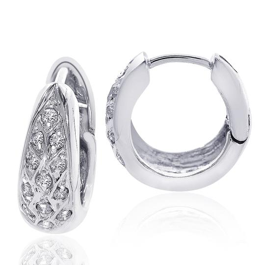 Avital & Co Jewelry 0.35 Carat Round Cut Diamond Hoop Earrings 14k White Gold Image 2