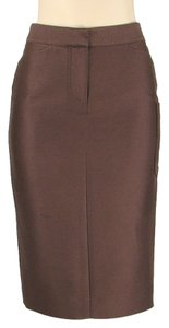 Tuleh Silk Pencil Linen Skirt Brown