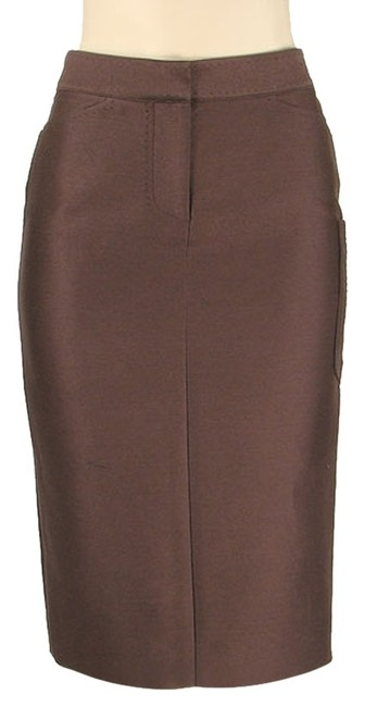 Tuleh Silk Pencil Linen Structured Classic Skirt Brown