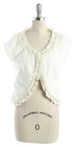 Anthropologie Jacket Bolero Cardigan White Ruffle Lace Top Cream