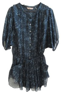 Rebecca Taylor Silk Blend Pin Tuck Detail Embellished Tunic