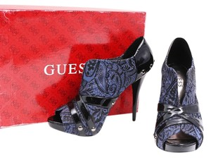 Guess Ankle Lace Black Patent Leather Blue Boots
