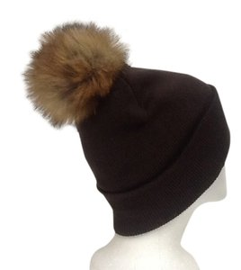 Winter Acrylic Dark Brown Beanie Hat With Natural Sable Fur Pom Pom One Size Fits All