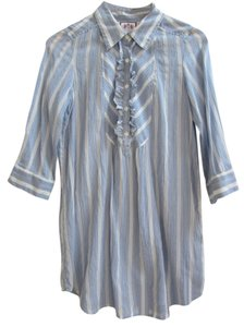 Juicy Couture Ruffle Mother Of Pearl Cotton Silk Top Pale blue and white stripe