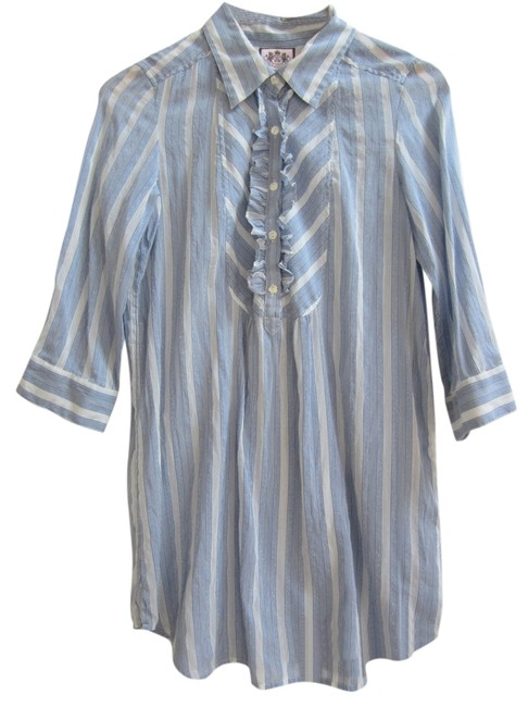 Preload https://img-static.tradesy.com/item/11020705/juicy-couture-pale-blue-and-white-stripe-cotton-silk-tunic-blouse-size-6-s-0-1-650-650.jpg