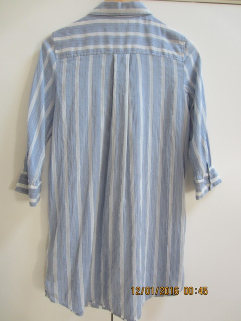 Juicy Couture Ruffle Mother Of Pearl Cotton Silk Top Pale blue and white stripe Image 1