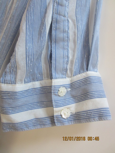 Juicy Couture Ruffle Mother Of Pearl Cotton Silk Top Pale blue and white stripe Image 2