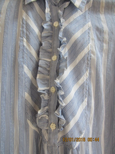 Juicy Couture Ruffle Mother Of Pearl Cotton Silk Top Pale blue and white stripe Image 3