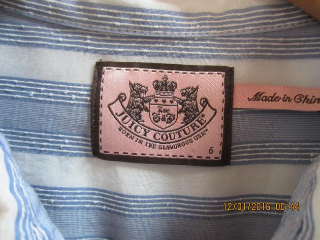 Juicy Couture Ruffle Mother Of Pearl Cotton Silk Top Pale blue and white stripe Image 4