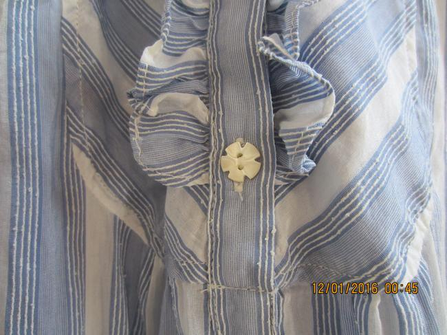 Juicy Couture Ruffle Mother Of Pearl Cotton Silk Top Pale blue and white stripe Image 5
