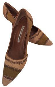 Manolo Blahnik BEIGE & BROWN CALF HAIR Pumps