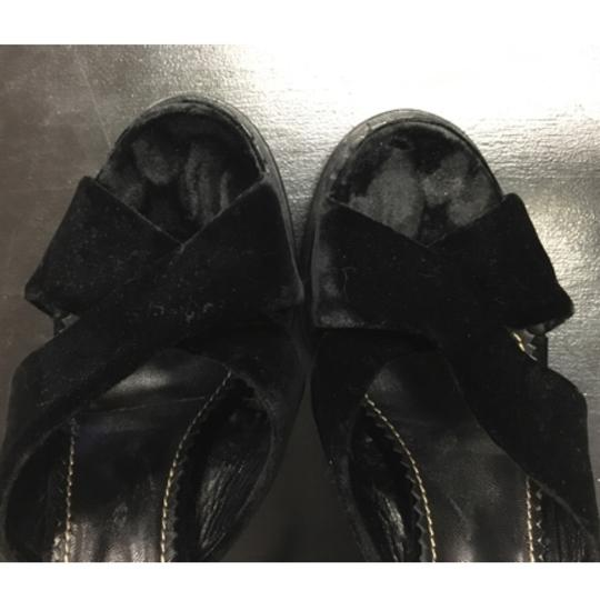 Saint Laurent Velvet Platform Brass Black Sandals Image 10